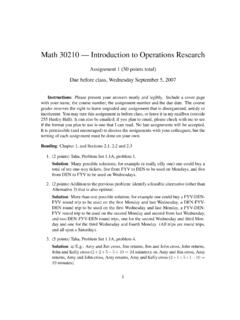 Math 30210 — Introduction to Operations Research