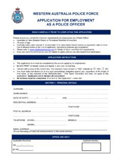 WESTERN AUSTRALIA POLICE FORCE APPLICATION FOR …
