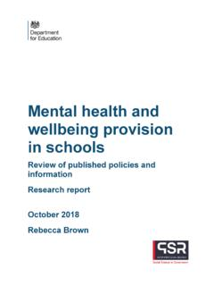 Mental health and wellbeing provision in schools
