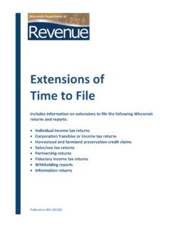 Extensions of Time to File - Wisconsin Department of …