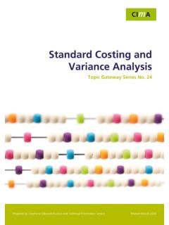 Standard Costing and Variance Analysis Topic …