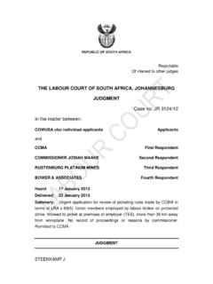 THE LABOUR COURT OF SOUTH AFRICA, …