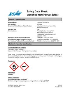 Safety Data Sheet: Liquefied Natural Gas (LNG)
