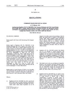 Commission Regulation (EU) No 142/2011 of 25 February …