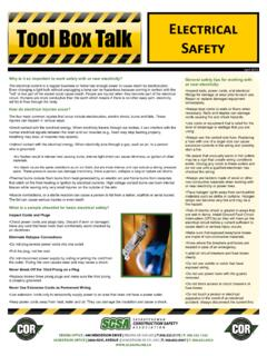 Tool Box Talk Electrical Safety - scsaonline.ca