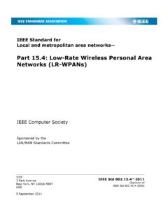 Part 15.4: Low-Rate Wireless Personal Area Networks (LR …