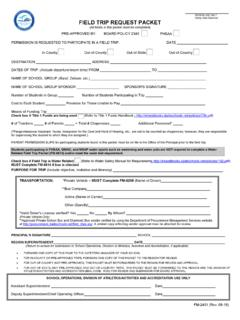 REGION USE ONLY FIELD TRIP REQUEST PACKET