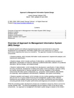 Overview of Approach to Management Information System …