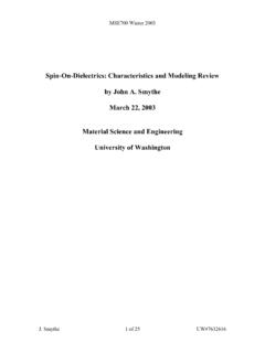 Spin-On-Dielectrics: Characteristics and Modeling Review ...