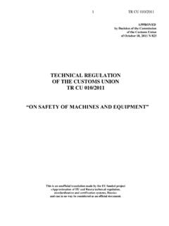 TECHNICAL REGULATION OF THE CUSTOMS …