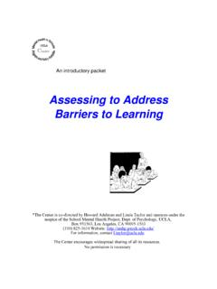 Assessing to Address Barriers to Learning