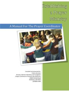 A Manual For The Prayer Coordinator