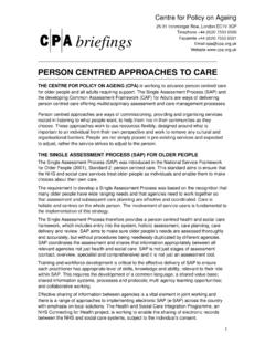 PERSON CENTRED APPROACHES TO CARE - CPA