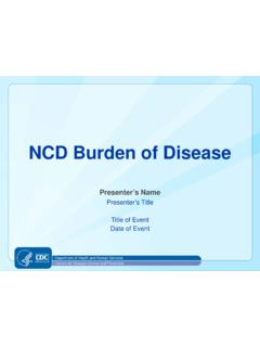 NCD Burden of Disease - Centers for Disease Control and ...
