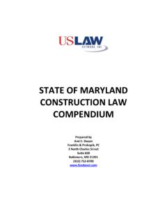 COMPENDIUM OF MARYLAND CONSTRUCTION LAW