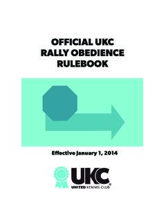 OFFICIAL UKC RALLY OBEDIENCE RULEBOOK