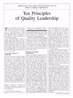 Ten Principles of Quality Leadership - ASCD