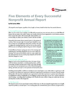 Five Elements of Every Successful Nonprofit Annual …