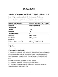 St Year B.P.T. SUBJECT: HUMAN ANATOMY (Subject Code BPT ...