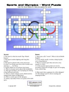 Sports and Olympics - Word Puzzle - ESL Galaxy