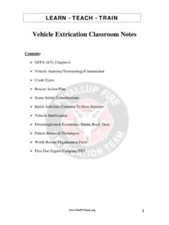 Vehicle Extrication Classroom Notes - Firefighters Washington