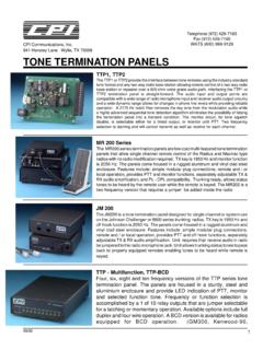 TONE TERMINATION PANELS - cpicomm.com