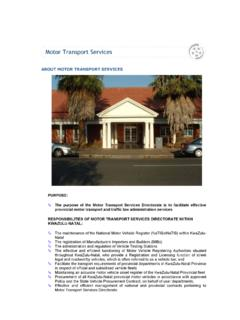 ABOUT MOTOR TRANSPORT SERVICES - KwaZulu …