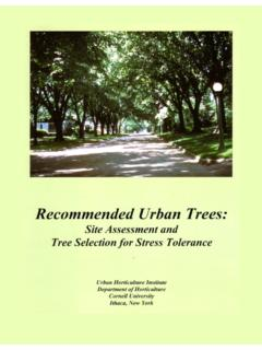 RECOMMENDED URBAN TREES - Horticulture Section