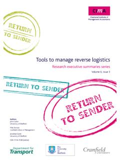 Tools to manage reverse logistics - CIMA