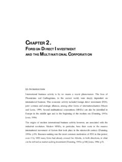 CHAPTER 2. FOREIGN DIRECT INVESTMENT AND THE …