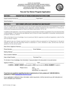Fee and Tax Waiver Program Application