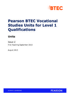 BTEC Entry 3 Level 1 - Pearson qualifications