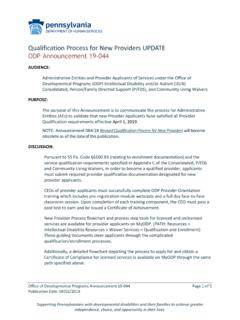 Qualification Process for New Providers UPDATE ODP ...