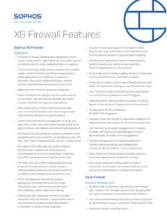 XG Firewall Features - Fully Synchronized, Cloud-Native ...