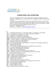 HUMAN SERVICES ACRONYMS - Columbia School of Social …