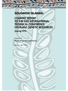 SOLOMON ISLANDS - Food and Agriculture Organization