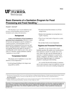 Basic Elements of a Sanitation Program for Food Processing ...