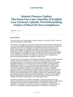 Islamic Finance Update The Dana Gas Case: Sanctity of ...