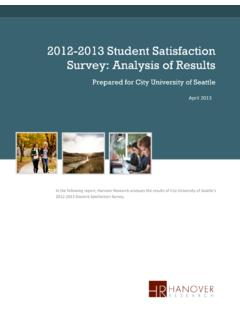 2012-2013 Student Satisfaction Survey: Analysis of Results