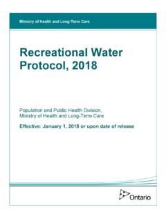 Recreational Water Protocol, 2018 - health.gov.on.ca
