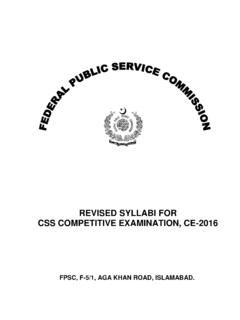 REVISED SYLLABI FOR CSS COMPETITIVE EXAMINATION, …