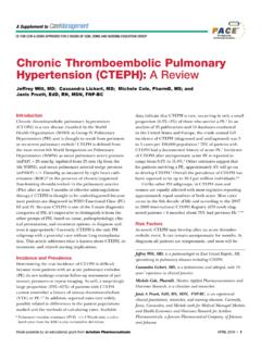 Chronic Thromboembolic Pulmonary Hypertension (CTEPH): …