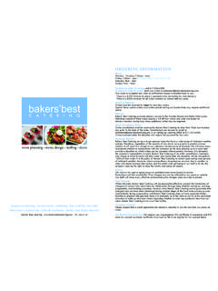 ordering information - Bakers Best Catering