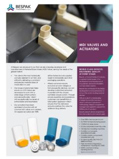 MDI VALVES AND ACTUATORS - Bespak