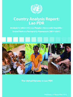 Country Analysis Report: Lao PDR - United Nations Lao PDR
