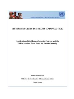 HUMAN SECURITY IN THEORY AND PRACTICE - unocha.org