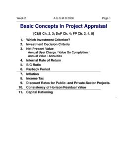 Basic Concepts In Project Appraisal - AGSM