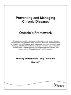 Preventing and Managing Chronic Disease: Ontario's …