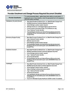 Provider Enrollment and Change Process Required …