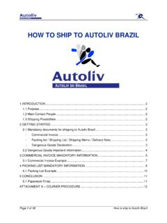 HOW TO SHIP TO AUTOLIV BRAZIL
